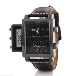 Oulm brand led digital with dual time zone quartz PC21S movt leather big dial belt men watches