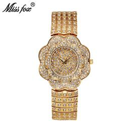 Quartz Watch Women Rose Flower Full Diamond Fashion Clock Ladies Wrist Watches Ladies Watch