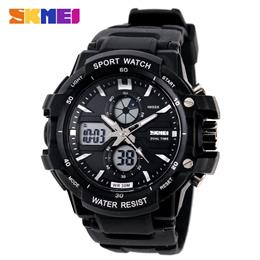 Men Digital LED Outdoor Waterproof Dual Display Wristwatches Military Army Watches