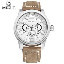 Sports Watch Men Quartz Watches Chronograph Big Dial Clock Leather Soldi...