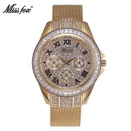 Diamond Watch Gold Women Dress Campaign Water Resistant Steel