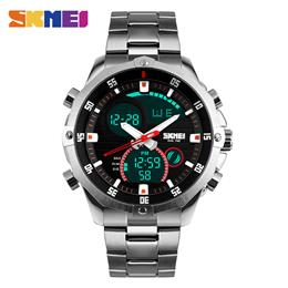 Digital Quartz Watch Men Dual Display Wristwatches Stainless Steel Strap...