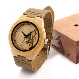 Elk Deer Bamboo Wood Watches Hot Women's Luxury Brand Leather Band Wooden Wristwatches