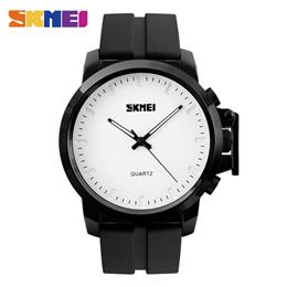 SKMEI Quartz Watches Men IP Black Plating Large Dial 30M Water Resistant Gentleman Wristwatches
