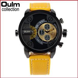 OULM Mens Business Watch Quartz Wristwatches Leather Strap Dual Time Display