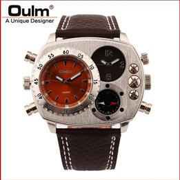 PC21S movt quartz dual time zone oulm brand mens watches decorated compa...