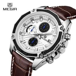 Quartz Men Watches Fashion Genuine Leather Chronograph Watch Clock for G...