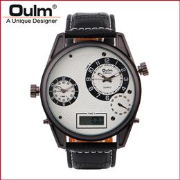 Oulm brand led digital with dual time zone quartz PC21S movt big dial watches for men