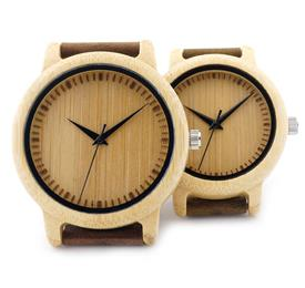 Ladies Casual Quartz Watches Men Natural Bamboo Watch face Women's B...