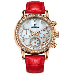 CASIMA Fashion Luxury Brand Watches Women Elegent Leisure Gold Crystal Women's Quartz Wrist Watch Red Leather Waterproof