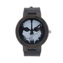 Mens Skull style Watches Leather Band Quartz Wood Watches for Mens Top Brand Bamboo Wooden Watches