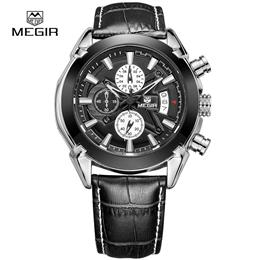 Men Quartz Watch Genuine Leather Business Watches Man Clock Chronograph ...