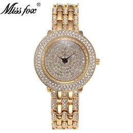 Gold Watches Women Rhinestone Quartz Female Wristwatch Stainless Steel Gift For Girls