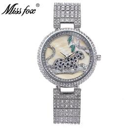 Round quartz Watch Women Rhinestone Waterproof Leopard Stainless Steel Full Diamond
