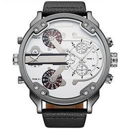 Oulm Dual Time Watch PC21S movt Imitated leather belt Quartz Wristwatches