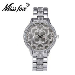 Flower Rose Gold Watch Women Famous Xfcs Heart Diamond Clock Charms Girls Watches Quartz