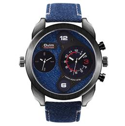 Denim Quartz Watch Military Watches with Double Movt Round Dial Famous Brand Men Wristwatch