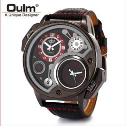 Military Sport Quartz Watch Leather strap Round Dial Famous brand luxury...