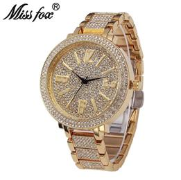 Big Face Watches For Women Japanese Quartz Movement Full Diamond Watch Female Arabic Numeral Watches