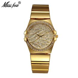 Elegant Gold Watch Women Famous Brand Quartz Golden Clock Ladies Designer Watches