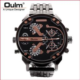 Heavy Alloy Suit men Watch Quartz PC21S Movt Big Dial Dual Time Zone