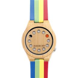 Womens Ladies Watch 12 Holes Design Bamboo Watches with Colorful Leather Band