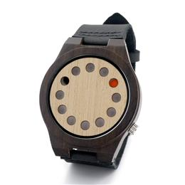 Mens Watches Top Brand Luxury Black Ebony 12 Holes Dial Quartz Watches With Real Leather Band