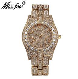 Women Watch High Quality Rhinestone Crystal Wristwatch Gold Plated Waterproof Lady Quartz Watch