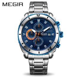 MEGIR Chronograph Quartz Men Watch Luxury Brand Stainless Steel Business...