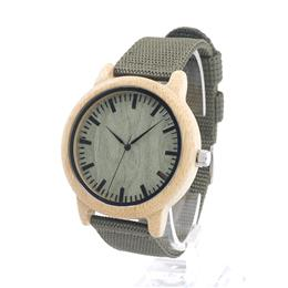 Bamboo Wooden Watches for Men Simple Wood Dial Face Quartz Watch with Gr...