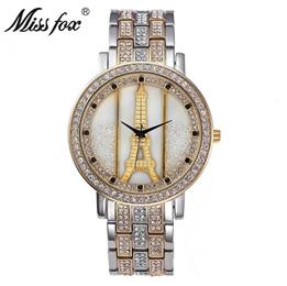 Paris Eiffel Tower Decoration Women Watch Fashion Brand Shockproof Waterproof Watch Silver Rhinestone