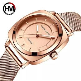 New Modern Fashion Rose Gold Quartz Ladies Women Stainless Steel Watch