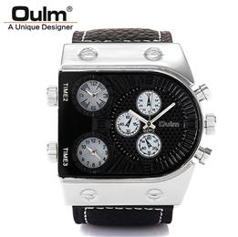 Men's Waches Three Quartz Moverment Leather Band Analog-Digital Wrist Watch