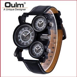 Military Army Leather Brown Dial Mens Dual Time Zones Wrist Watch
