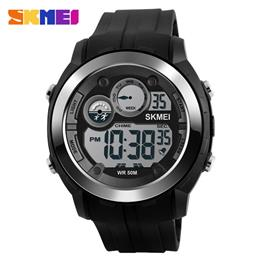 Men Digital Wristwatches Alarm Black Light Chrono PU Strap Sports Watches