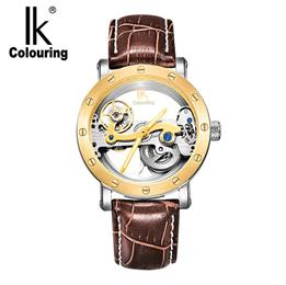 IK Top Brand Luxury Self Wind Automatic New Black Men's Skeleton WristWatch Stainless steel