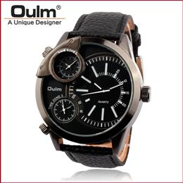 3 Time Zone Army Military OULM Watch for Men Leather Strap Japan Quartz Movement Sports Wristwatch