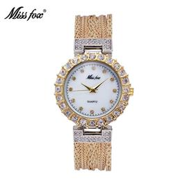 Gold Watch Fashion Brand Rhinestone Water Resistant Steel Japan Quartz Movement Women Watches