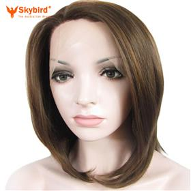 "Skybird Straight Synthetic Honey Blond Mix Chestnut Brown 14"" Lace Front Bob Wig"