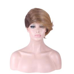 synthetic wigs short straight wig heat resistant ombre brown blonde wig 30 cm womens wigs