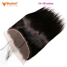 Skybird 16-18 inches Brazilian Lace Frontal Closure Straight 13x4 Free Part Remy Human Hair Bleached Knots