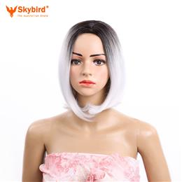 Skybird 12inch Synthetic Bob Wig Ombre Grey Straight Hair Short Wigs for...