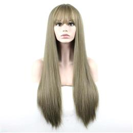 Synthetic Wigs Full Hair Cosplay Wigs Matte Women 70cm Long Straight Wig Linen Color