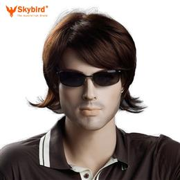 Skybird 10inch Heat Resistant Synthetic Short Mens Wig Brown Color Straight Hairstyles