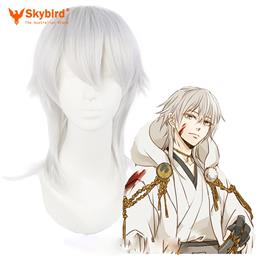 "Skybird 20""/50cm Mens Long Silver-Gray Hair Cosplay Wigs High Temperature Fiber Synthetic Hair Heat Resistant"