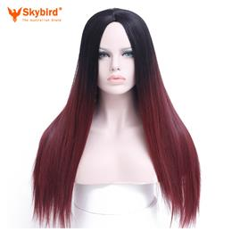 Skybird Hair 24'' Long Ombre Wig Black Ombre Burgundy Synthetic...