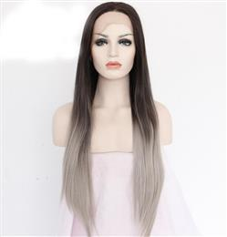 Black T Grey Handmade Perruque Party Bangs Synthetic Lace Front Wig For Women