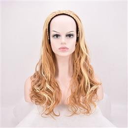 24inch Long Curly Synthetic Hair Blonde brown 3/4 Half Wig For Women