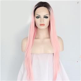 Black Ombre Pink Color Glueless Heat Resistant Hair Synthetic Lace Front...