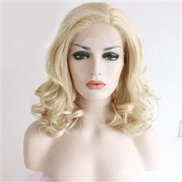 Blond Color hair Handmade Short Cosplay Party perruque Blonde synthetic Lace front Wig for Women